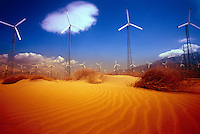 Windmill farm in desert.