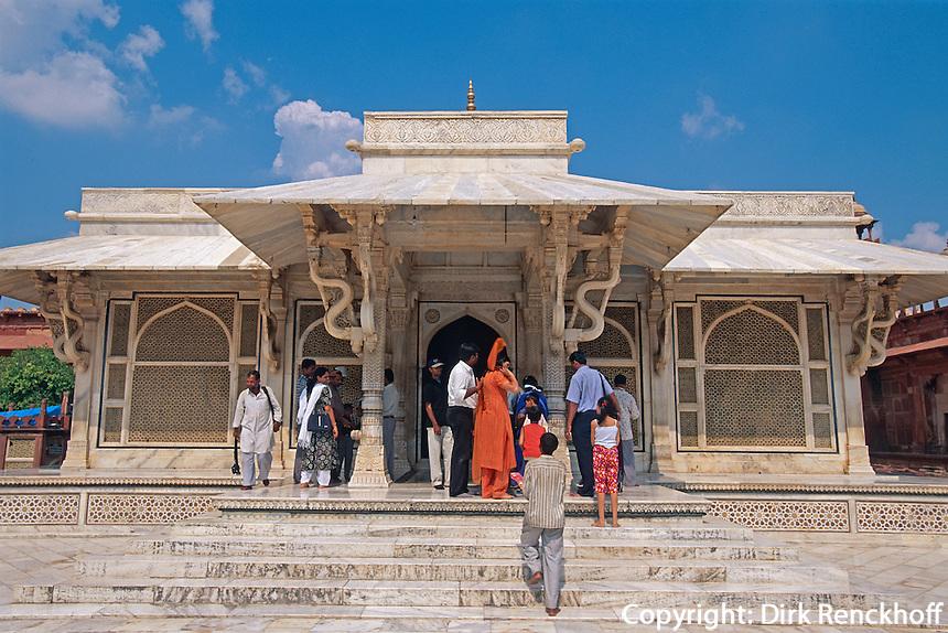 Indien, Uttar Pradesh,  Fatehpur Sikri, Mausoleum von Shaikh Shalim Chishti, Unesco-Weltkulturerbe.