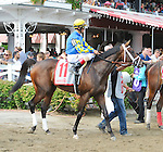 Uncle Vinny (no. 11), ridden by John Velazquez and trained by Todd Pletcher, wins the 101st running of the grade 3 Sanford Stakes for two year olds on July 25, 2015 by disqualification of Magna Light (no. 4), ridden by Jose Ortiz and trained by Rudy Rodriguez, at Saratoga Race Course in Saratoga Springs, New York. (Bob Mayberger/Eclipse Sportswire)