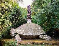 statue of a tortoise, a symbol of the feminine power of the waters and their godess Aphrodite or Venus, commissioned by Piaer Francesco Orsini c. 1513-84, The Renaissance Mannerist statues of the Park of Monsters or The Sacred Wood of Bamarzo, Italy