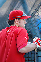 Chase Utley of the Philadelphia Phillies during batting practice before a game against the Los Angeles Dodgers in a 2007 MLB season game at Dodger Stadium in Los Angeles, California. (Larry Goren/Four Seam Images)
