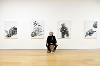 London, UK - 14 October 2020<br /> British artist Maggi Hambling with (L-R) Elephant without tusk, 2019, Lion in enclosure, 2019, Young dancing bear, 2019 and Baby elephant abandoned, 2019, at her new exhibition at Marlborough Gallery, where she has a solo exhibition to coinciding with her 75th birthday, featuring recent paintings responding to the seismic events of the present, works include a new series of self-portraits created in lockdown, a series depicting wild animals facing threat and intimate portraits of people laughing.<br /> CAP/JOR<br /> ©JOR/Capital Pictures