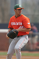Alex Koronis of the Miami Hurricanes vs. the Virginia Cavaliers: March 24th, 2007 at Davenport Field in Charlottesville, VA.  Photo by:  Mike Janes/Four Seam Images