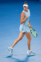 20th February 2021, Melbourne, Victoria, Australia; Jennifer Brady of the United States of America celebrates after winning a game during the Women's Singles Final of the 2021 Australian Open on February 20 2021, at Melbourne Park in Melbourne, Australia.