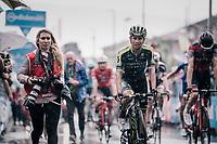 Esteban Chavez (COL/Michelton-Scott) rolling in after finishing in the rain<br /> <br /> stage 17: Riva del Garda - Iseo (155 km)<br /> 101th Giro d'Italia 2018