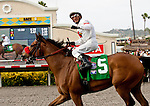 """Tres Borrachos and Rafael Bejarano win the San Diego Handicap """"Win and You're In Dirt Mile Division"""" at Del Mar Thoroughbred Club in Del Mar, CA.  July 24, 2011"""