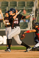 Tyler Stampone #45 of the Delmarva Shorebirds follows through on his swing against the Kannapolis Intimidators at Fieldcrest Cannon Stadium May 12, 2010, in Kannapolis, North Carolina.  Photo by Brian Westerholt / Four Seam Images