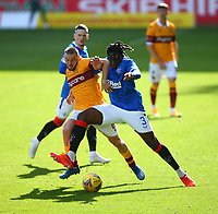 27th September 2020; Fir Park, Motherwell, North Lanarkshire, Scotland; Scottish Premiership Football, Motherwell versus Rangers; Allan Campbell of Motherwell and Calvin Bassey of Rangers challenge for the ball