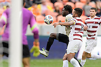Houston, TX - Friday December 11, 2016: Ema Twumasi (22) of the Wake Forest Demon Deacons attempts a shot on the Stanford Cardinal goal at the NCAA Men's Soccer Finals at BBVA Compass Stadium in Houston Texas.