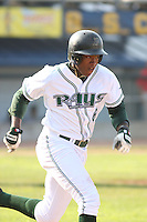 Tim Beckham of the Princeton Devil Rays running to first base against the Greeneville Astros in an Appalachian League game at Hunnicutt Field in Princeton, WV on July 20, 2008
