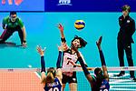 Yuki Ishii of Japan attacks during the FIVB Volleyball Nations League Hong Kong match between Japan and Italy on May 29, 2018 in Hong Kong, Hong Kong. Photo by Marcio Rodrigo Machado / Power Sport Images