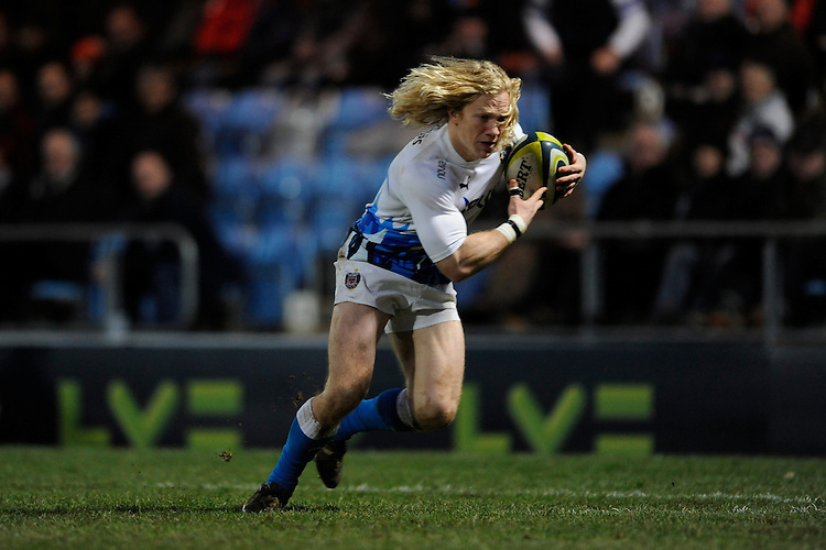 Tom Biggs of Bath Rugby scores a try during the LV= Cup match between Exeter Chiefs and Bath Rugby at Sandy Park Stadium on Sunday 5th February 2012 (Photo by Rob Munro)
