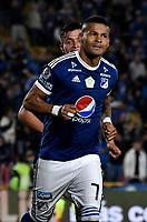 BOGOTA - COLOMBIA - 25 – 03 - 2018: Ayron del Valle, jugador de Millonarios, corre a celebrar el primer gol anotado de su equipo a Jaguares F. C., durante partido de la fecha 10 entre Millonarios y Jaguares F. C., por la Liga Aguila I 2018, jugado en el estadio Nemesio Camacho El Campin de la ciudad de Bogota. / Ayron del Valle, player of Millonarios runs to celebrate the first scored goal from his team to Jaguares F. C.,  during a match of the 10th date between Millonarios and Jaguares F. C.,  for the Liga Aguila I 2018 played at the Nemesio Camacho El Campin Stadium in Bogota city, Photo: VizzorImage / Luis Ramirez / Staff.