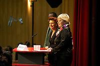 """16. Rosa Luxemburg-Konferenz der linken Tageszeitung """"junge Welt"""".<br /> Am Samstag den 8. Januar 2011 veranstaltete die linke Tageszeitung """"junge Welt"""" ihre traditionelle Rosa Luxemburg-Konferenz. Teilnehmerinnen bei der Abschlussdiskussion waren u.a die Parteivorsitzender der Linkspartei Die LINKE. Gesine Loetzsch (rechts im Bild); die Linkspartei-MdB Ulla Jelpke (links im Bild); die Vorsitzende der Deutschen Kommunistishen Partei DKP Bettina Juergensen; das ehemalige RAF-Mitglied Inge Viet und Katrin Dornheim, Betriebsratsvorsitzende bei der Deutschen Bahn AG in Berlin.<br /> 8.1.2011, Berlin<br /> Copyright: Christian-Ditsch.de<br /> [Inhaltsveraendernde Manipulation des Fotos nur nach ausdruecklicher Genehmigung des Fotografen. Vereinbarungen ueber Abtretung von Persoenlichkeitsrechten/Model Release der abgebildeten Person/Personen liegen nicht vor. NO MODEL RELEASE! Nur fuer Redaktionelle Zwecke. Don't publish without copyright Christian-Ditsch.de, Veroeffentlichung nur mit Fotografennennung, sowie gegen Honorar, MwSt. und Beleg. Konto: I N G - D i B a, IBAN DE58500105175400192269, BIC INGDDEFFXXX, Kontakt: post@christian-ditsch.de<br /> Bei der Bearbeitung der Dateiinformationen darf die Urheberkennzeichnung in den EXIF- und  IPTC-Daten nicht entfernt werden, diese sind in digitalen Medien nach §95c UrhG rechtlich geschuetzt. Der Urhebervermerk wird gemaess §13 UrhG verlangt.]"""