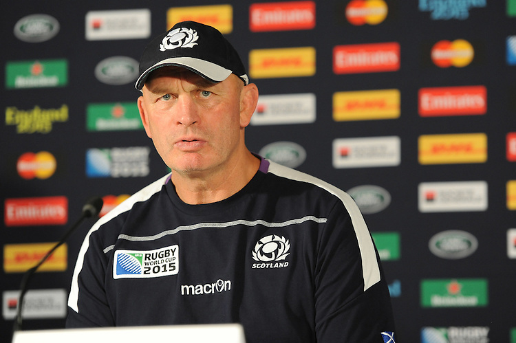 Vern Cotter, Scotland Head Coach, speaks to the media after Match 18 of the Rugby World Cup 2015 between Scotland and USA - 27/09/2015 - Elland Road, Leeds<br /> Mandatory Credit: Rob Munro/Stewart Communications