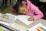 Education Elementary school Grade 2 girl practicing cursive handwriting horizontal