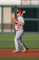 Palm Beach Cardinals second baseman Nick Dunn (12) during a Florida State League game against the Lakeland Flying Tigers on April 17, 2019 at Publix Field at Joker Marchant Stadium in Lakeland, Florida.  Lakeland defeated Palm Beach 1-0.  (Mike Janes/Four Seam Images)
