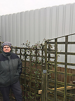 Pictured: Former prison officer Tina Keogh, 59, whose next-door neighbours have put up a garden fence as high as the Berlin Wall in a feud at a West Wales village.