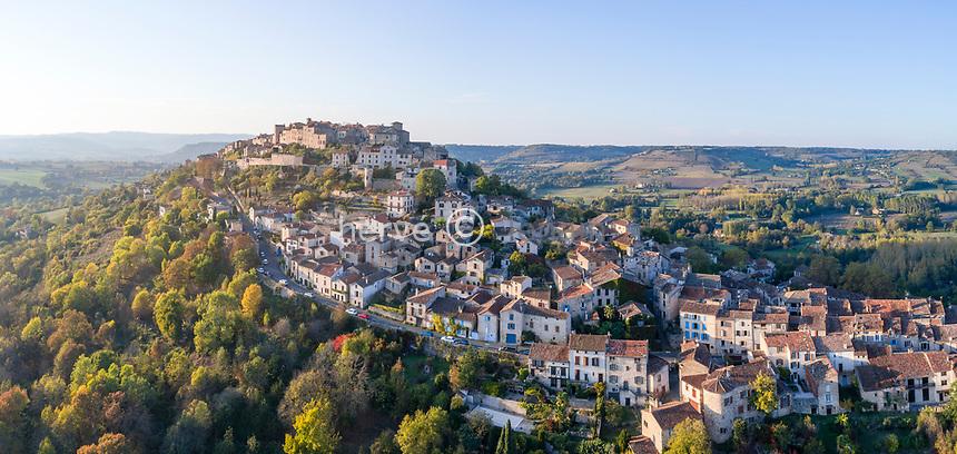 France, Tarn, Cordes sur Ciel, medieval village (aerial view) // France, Tarn (81), Cordes-sur-Ciel, village médiéval bâti sur le puech de Mordagne (vue aérienne)