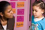 Education preschool 3-4 year olds female teacher listening to girl talk