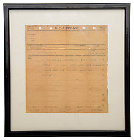 """BNPS.co.uk (01202) 558833<br /> Pic: CatherineSouthonAuctions/BNPS<br /> <br /> A telegram announcing the momentous sinking of the feared German battleship Bismarck has emerged 80 years to the day it was lost.<br /> <br /> The message was issued from the commander of HMS Dorsetshire minutes after the 42-ton vessel was destroyed on May 27, 1941.<br /> <br /> The one page typed telegram proclaims: """"I torpedoed Bismarck both sides before she sank stop she had ceased firing but her colours were still flying = 1107."""""""