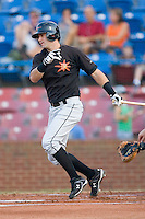 Tyler Henson #1 of the Frederick Keys follows through on his swing versus the Winston-Salem Dash at Wake Forest Baseball Stadium August 8, 2009 in Winston-Salem, North Carolina. (Photo by Brian Westerholt / Four Seam Images)