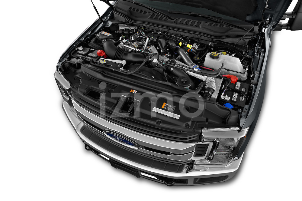 Car Stock 2017 Ford F-350 XLT-Crew 4 Door Pickup Engine  high angle detail view