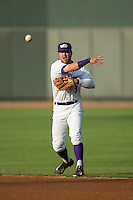 Winston-Salem Dash second baseman Jake Peter (3) makes a throw to first base against the Salem Red Sox at BB&T Ballpark on June 18, 2015 in Winston-Salem, North Carolina.  The Red Sox defeated the Dash 8-2.  (Brian Westerholt/Four Seam Images)