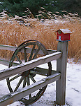 Bureau County, IL <br /> A red birdhouse is perched on a weathered fence with wagon wheel and pampas grass in the background in winter
