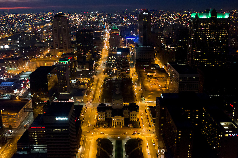 Downtown St. Louis, Missouri is seen at night from the Gateway Arch on Saturday, Dec. 5, 2015. (Photo by James Brosher)