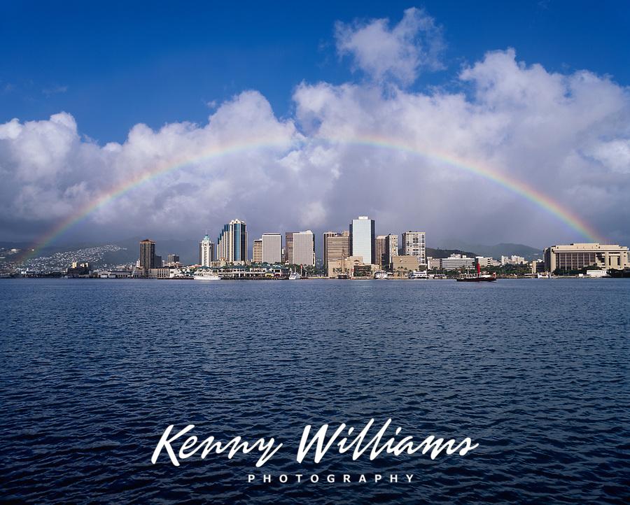 Rainbow over Downtown Honolulu, Oahu, Hawaii, USA.