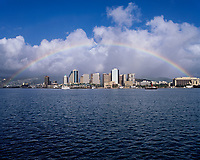 Rainbow over Downtown Honolulu, Oahu, Hawaii, USA.