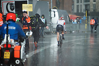 minutes after Sagan won the race on a dry course, rain just pours down in buckets as Simon Pellaud (SUI/IAM) comes in<br /> <br /> 78th Gent - Wevelgem in Flanders Fields (1.UWT)