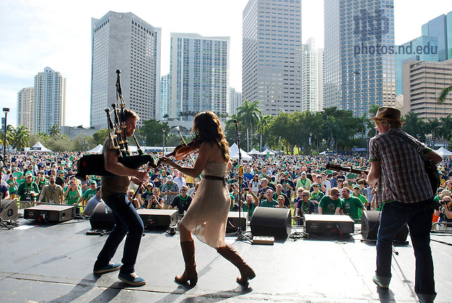 Jan. 7, 2013; Gaelic Storm performs during Notre Dame Game Day at Bayfront Park in Miami, Florida. Photo by Barbara Johnston/University of Notre Dame