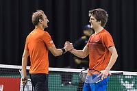 Rotterdam, Netherlands, 11 februari, 2018, Ahoy, Tennis, ABNAMROWTT, Qualifying Doubles final, Thiemo de Bakker (NED) and Sander Arends (NED) (L)<br /> Photo: Henk Koster/tennisimages.com