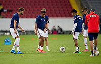 , MEXICO - : U-23 USMNT of the United States warming up during a game between  and undefined at  on ,  in , Mexico.