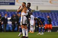 16th September 2020; Portman Road, Ipswich, Suffolk, England, English Football League Cup, Carabao Cup, Ipswich Town versus Fulham; Aleksandar Mitrovic of Fulham ignores COVID guide lines and gives Aristote Nsiala of Ipswich Town his shirt