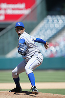 Octavio Dotel of the Kansas City Royals during a game against the Los Angeles Angels in a 2007 MLB season game at Angel Stadium in Anaheim, California. (Larry Goren/Four Seam Images)