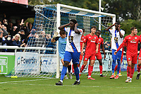 Jeremiah Gyebi of Enfield Town heads wide during Enfield Town vs Worthing, Pitching In Isthmian League Premier Division Football at the Queen Elizabeth II Stadium on 16th October 2021
