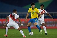 5th July 2021; Nilton Santos Stadium, Rio de Janeiro, Brazil; Copa America, Brazil versus Peru; Lucas Paquetá of Brazil and Renato Tapia of Peru