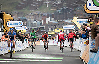 The King of Wheelies (and also the King of the Green Jersey) Peter Sagan (SVK/Bora-Hansgrohe) entertaining the finish line crowd with his trademark trick as he crosses the finish line<br /> <br /> shortened stage 20: Albertville to Val Thorens(59km in stead of the original 130km due to landslides/bad weather)<br /> 106th Tour de France 2019 (2.UWT)<br /> <br /> ©kramon