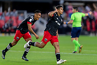 WASHINGTON, DC - MAY 13: Edison Flores #10 of D.C. United celebrates his goal during a game between Chicago Fire FC and D.C. United at Audi FIeld on May 13, 2021 in Washington, DC.