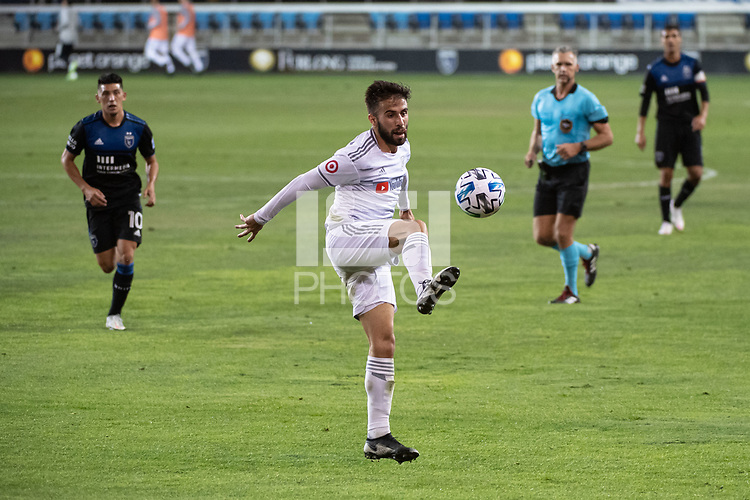 SAN JOSE, CA - NOVEMBER 04: Diego Rossi #9 of the Los Angeles FC traps the ball during a game between Los Angeles FC and San Jose Earthquakes at Earthquakes Stadium on November 04, 2020 in San Jose, California.