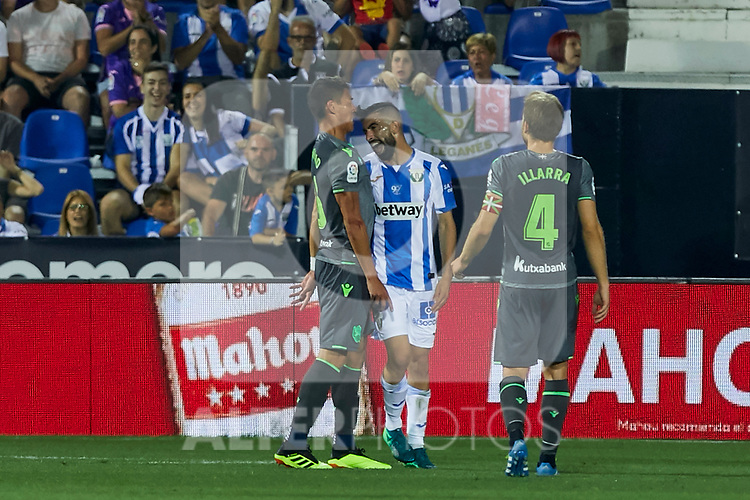 Leganes' Nabil El Zhar and Real Sociedad's Hector Moreno(l) and Asier Illarramendi (r) during La Liga match. August 24, 2018. (ALTERPHOTOS/A. Perez Meca)