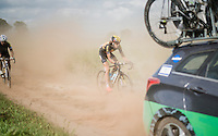 Laurent Evrard (BEL/3M) eating dust while trying to get back to the peloton<br /> <br /> 91st Schaal Sels 2016