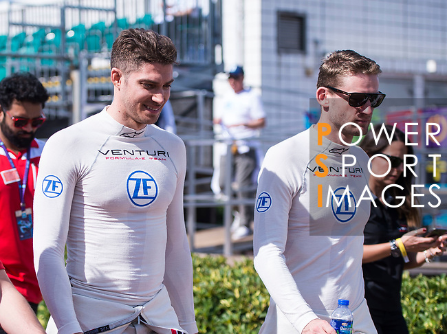 Edoardo Mortara (l) of Switzerland and Maro Engel of Germany from Venturi Formula E Team attend the Drivers' Parade during the FIA Formula E Hong Kong E-Prix Round 1 at the Central Harbourfront Circuit on 02 December 2017 in Hong Kong, Hong Kong. Photo by Marcio Rodrigo Machado / Power Sport Images