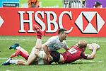 Samoa vs Wales during their Shield Semi-final match as part of the HSBC Hong Kong Rugby Sevens 2017 on 09 April 2017 in Hong Kong Stadium, Hong Kong, China. Photo by Chris Wong / Power Sport Images