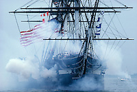 USS Constitution with guns and smoke Boston MA