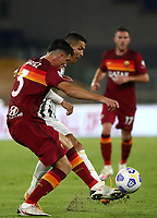 Football, Serie A: AS Roma - Juventus, Olympic stadium, Rome, September 27, 2020. <br /> Juventus' Cristiano Ronaldo (r) in action with Roma's Roger Ibanez (l) during the Italian Serie A football match between Roma and Juventus at Olympic stadium in Rome, on September 27, 2020. <br /> UPDATE IMAGES PRESS/Isabella Bonotto