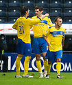 ST JOHNSTONE'S CILLIAN SHERIDAN IS CONGRATULATED BY FRANCISCO SANDAZA AFTER HE SCORES ST JOHNSTONE'S SECOND